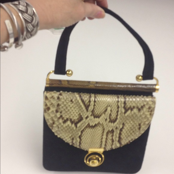 Handbags - Black suede and Snakeskin Handbag